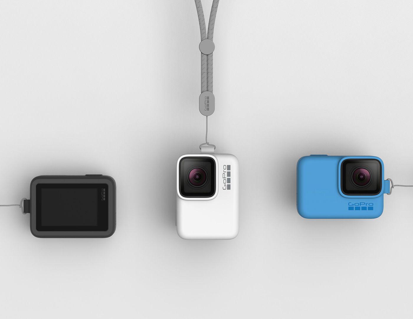 Capa de Silicone + Cordão GoPro Sleeve Azul Original ACSST-003 Hero 5/6/7