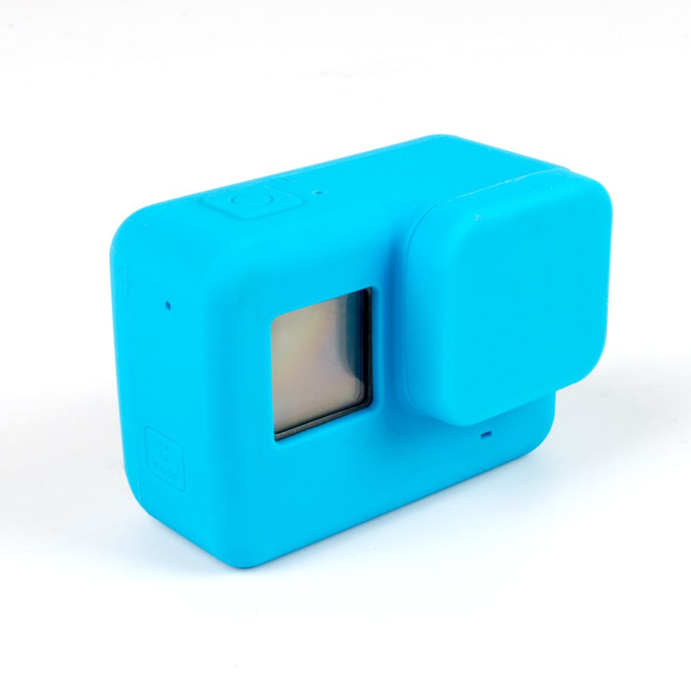 Capa e tampa silicone direto câmera GoPro 5-7 - azul