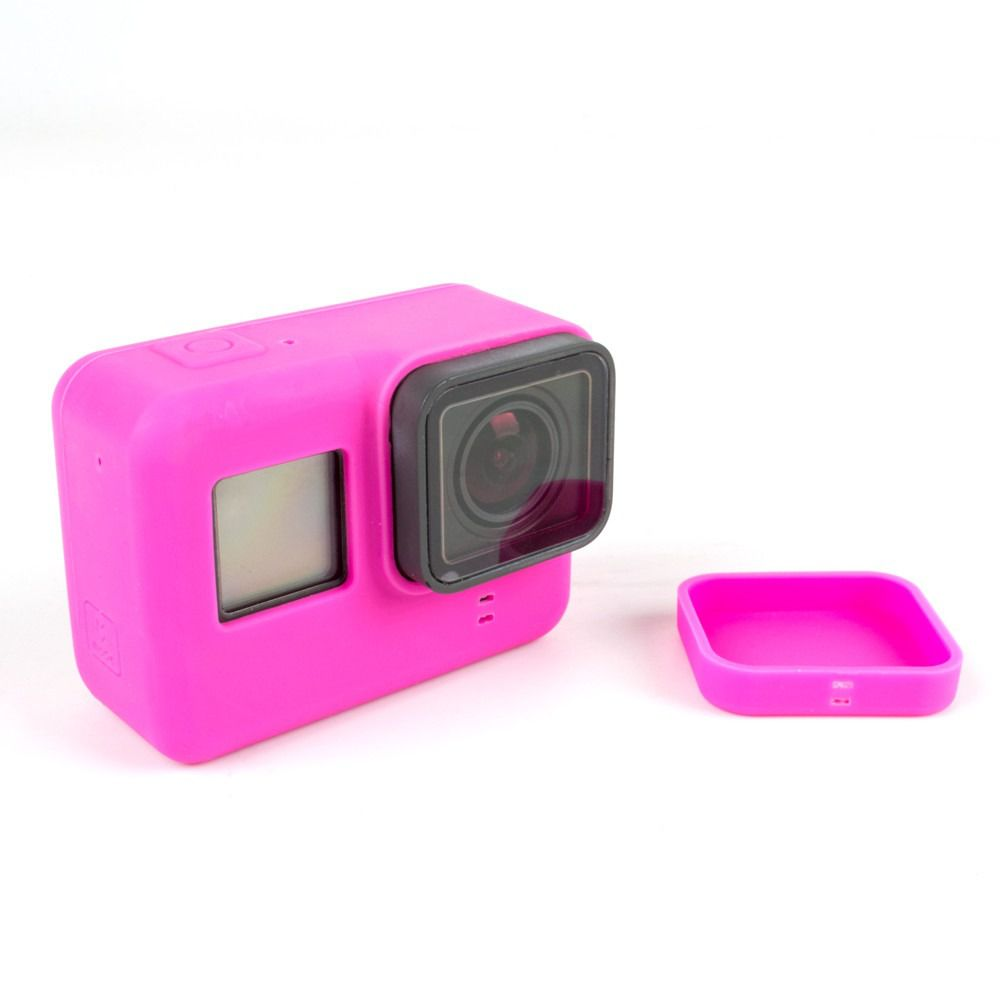 Capa e tampa silicone direto câmera GoPro 5-7 - rosa