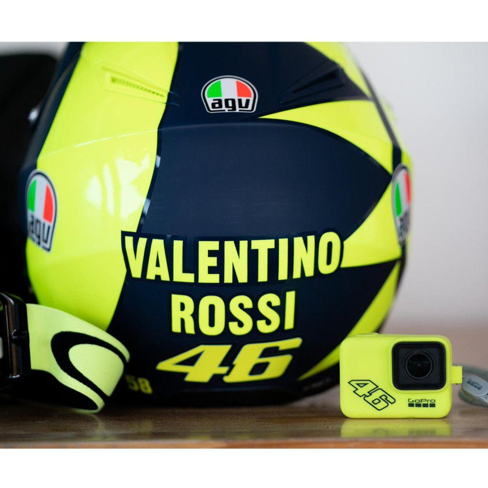 Capa Silicone Amarelo Valentino Rossi + Cordão Sleeve Original GoPro