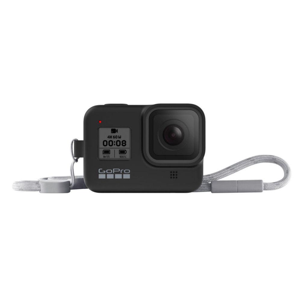 Capa em Silicone Preta + Cordão Sleeve Original GoPro Hero 8