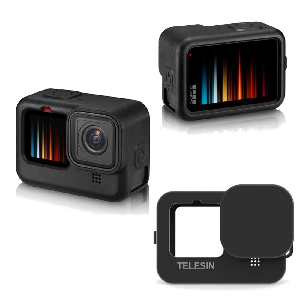 Capa em Silicone Preto + Cordão Telesin GoPro Hero 9 e Hero 10 Black