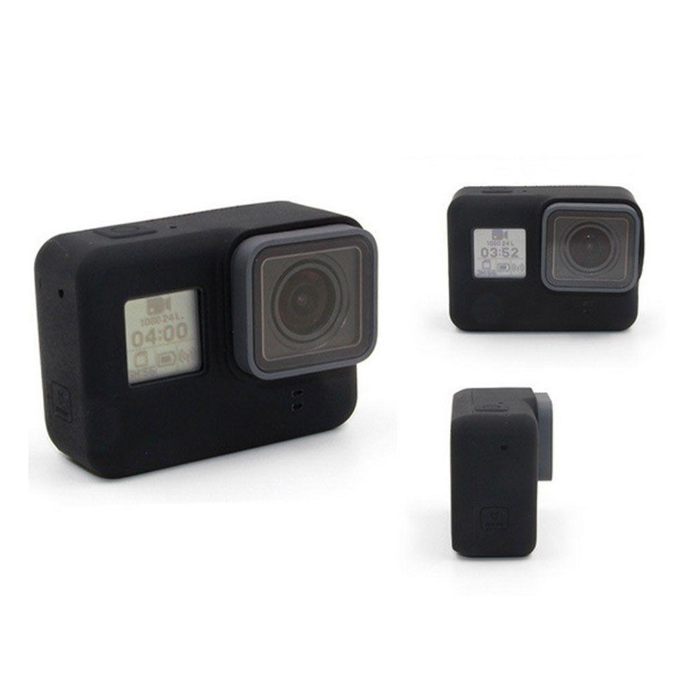Capa Protetora e Lente em Silicone Para GoPro 5-7 - Preta