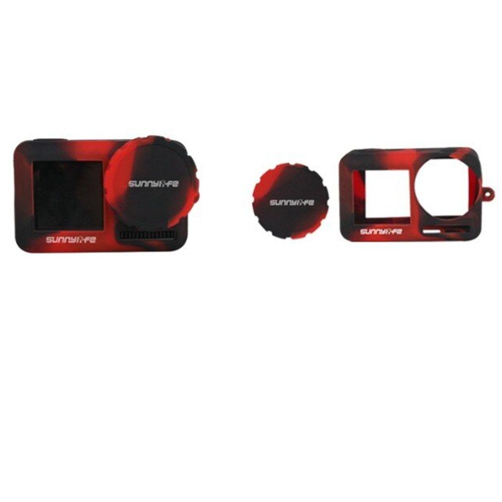 Capa Silicone Preta e Vermelha Para Osmo Action + Cordão + Prot. Lente