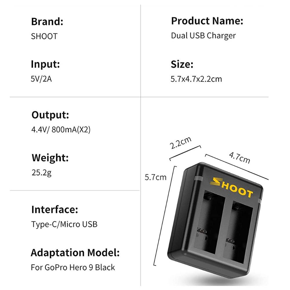 Carregador duplo + 2 baterias GoPro Hero 9 Black