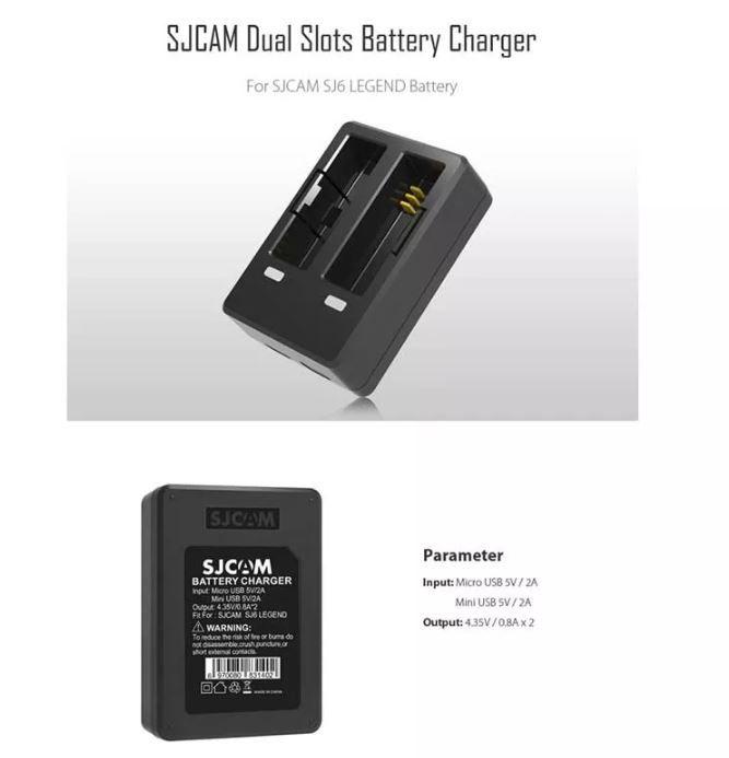Carregador Duplo de Bateria Camera SJCAM SJ6 Legend Original