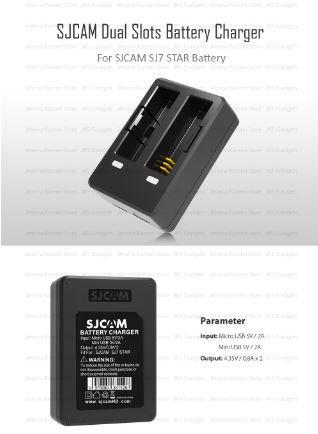 Carregador Duplo de Bateria Camera SJCAM SJ7 Legend Original