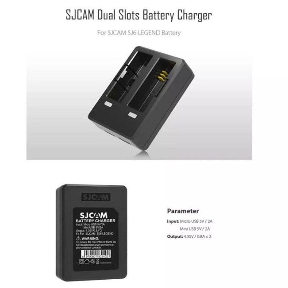 Carregador Duplo de Bateria  Original para Câmeras SJCAM SJ6 Legend