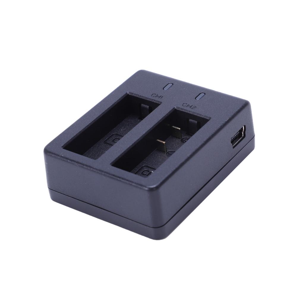 Carregador Duplo para Câmeras de ação Eken h8, h8r, h9, h9r e SJCam 4 e 5- Preto