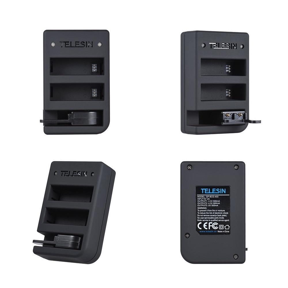 Carregador Telesin Triplo Bateria E Controle GoPro Hero 4-8
