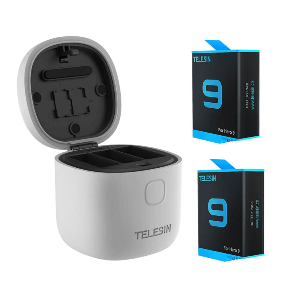 Carregador Triplo + 2 baterias EXTRA Para Gopro 9 e 10 - Telesin