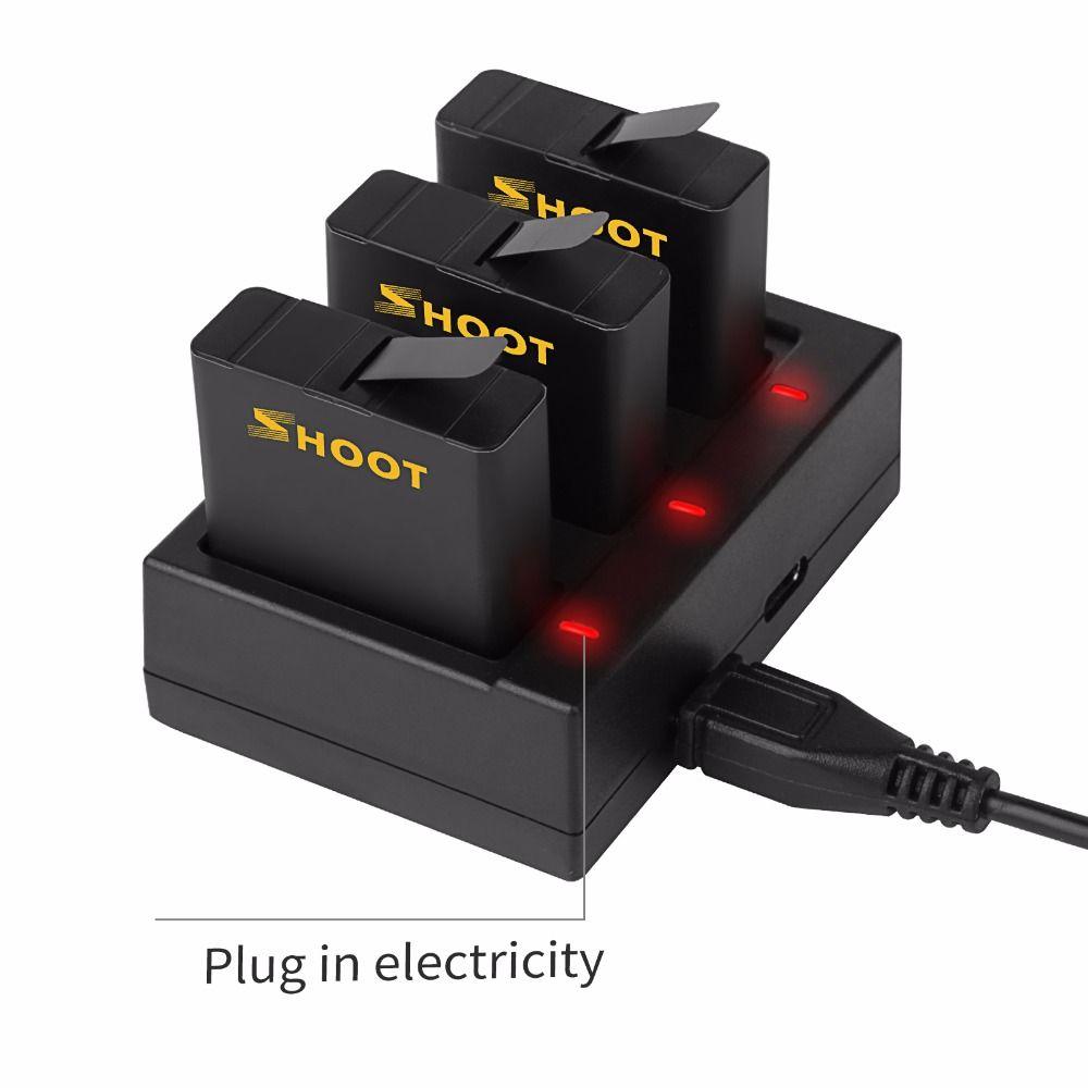 Carregador triplo + 3 baterias GoPro Hero 5/6/7