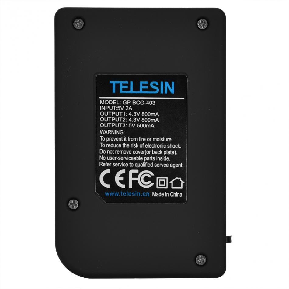 Carregador Telesin Triplo de Bateria E Controle para GoPro Hero 4, 5, 6, 7
