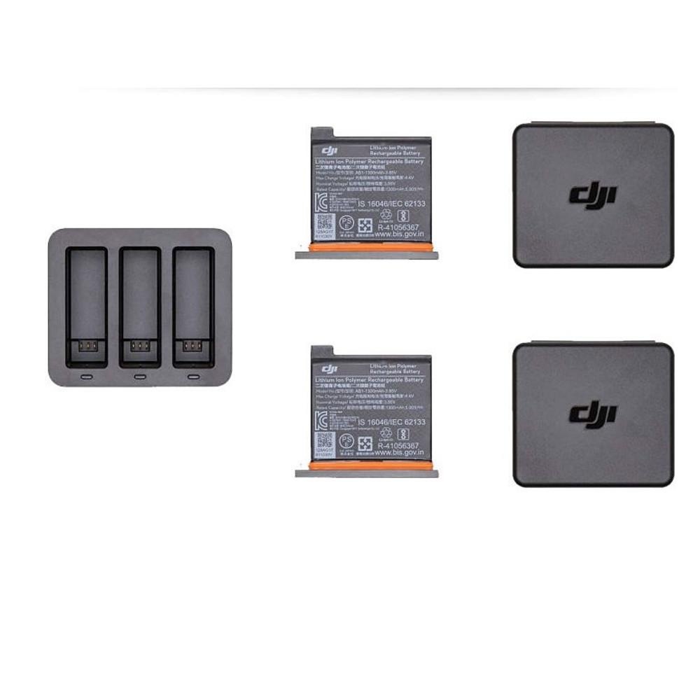 Carregador Triplo Original para DJI Osmo Action + 2 Baterias Extra 1300 mAh
