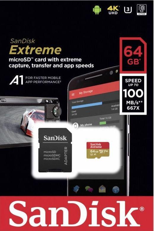 Cartão Microsd Sdsqxaf 64gb Sandisk Extreme GoPro 2-7