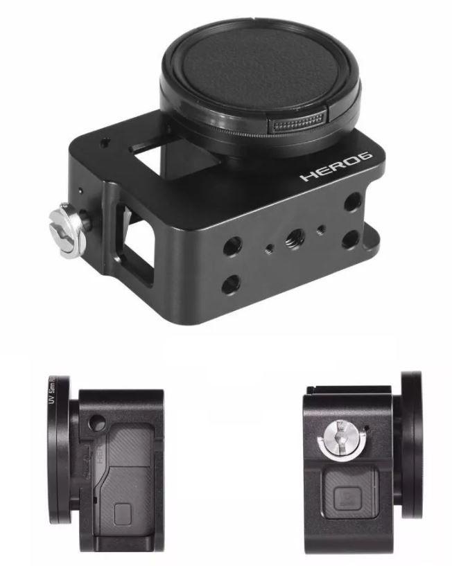 Frame Case Proteção Alumínio + Lente Uv Gopro Hero 6 5 Black  - Imp. Hero 6
