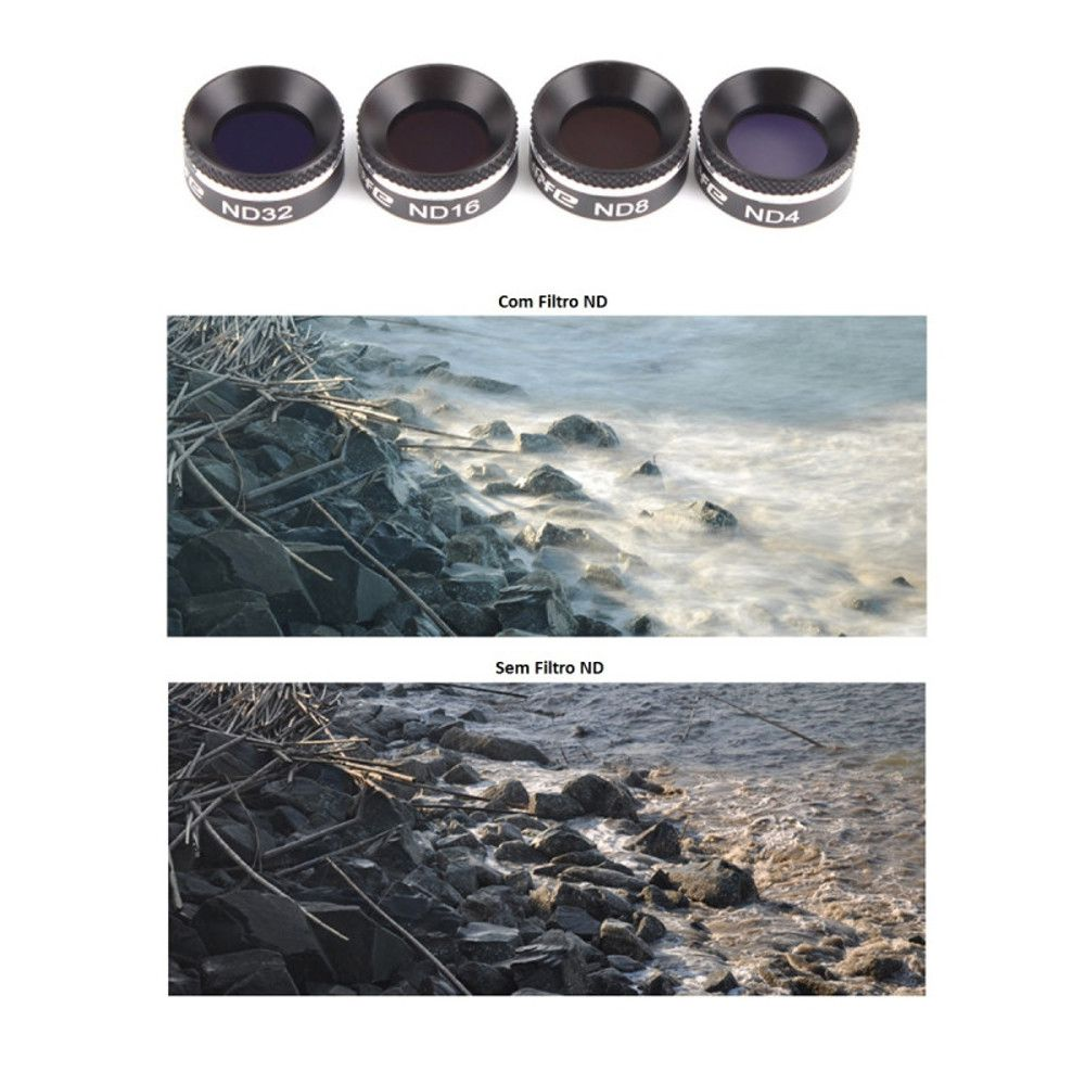 Conjunto 4 Filtros para Drone DJI Mavic Air ND4 ND8 MCUV CPL Sunnylife