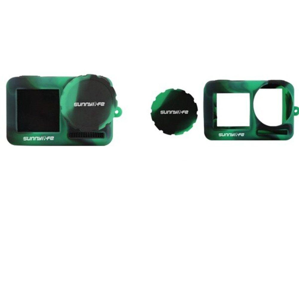 Capa Silicone Preta e Verde Para Osmo Action + Cordão + Prot. Lente