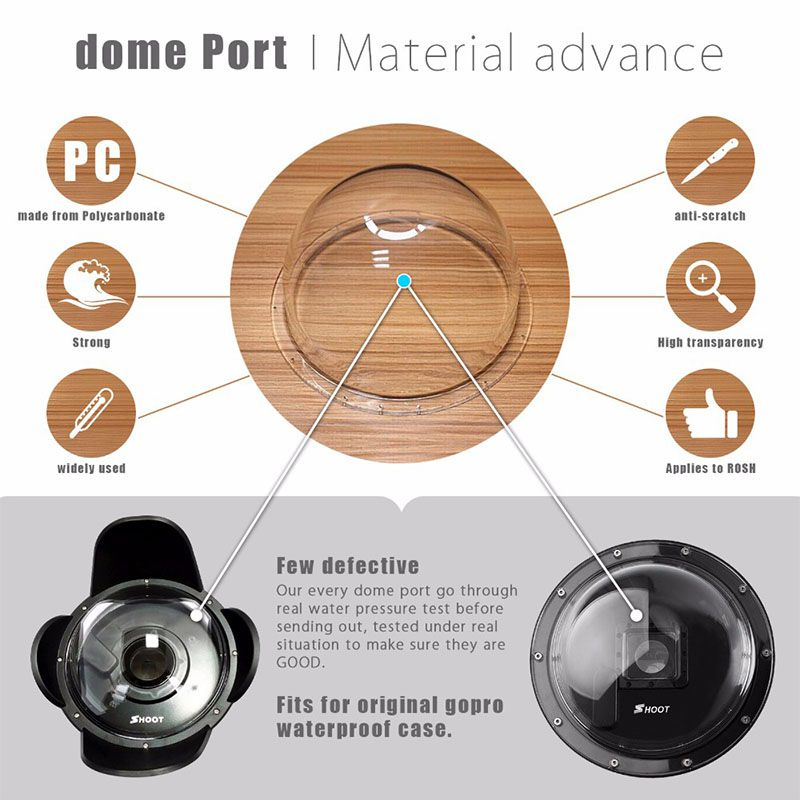 Dome -Shoot 6 Polegadas -GoPro Hero5 Hero6 e Hero 7 black