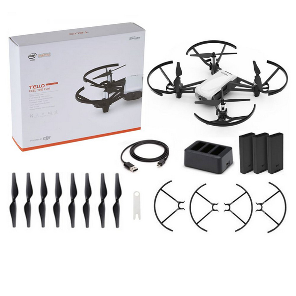 Drone DJI Ryze Tech Tello Boost Combo - Câmera HD Wifi 5MB - Branco
