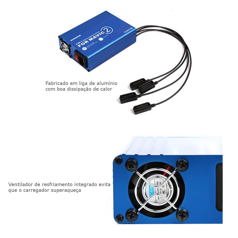 Estação Hub De Carregamento 6 Em 1 Para Bateria Da DJI Mavic 2 Pro e Zoom