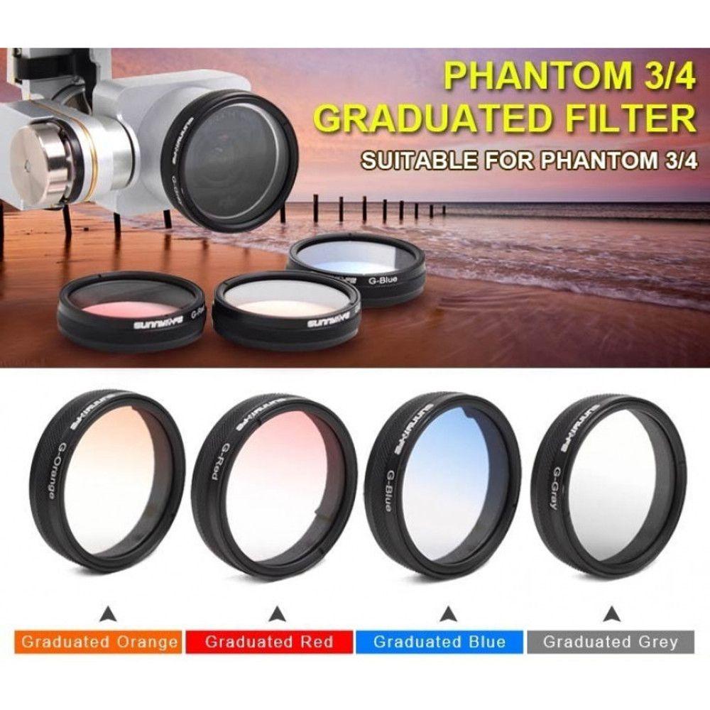 Filtro Graduação para Drone DJI Phantom 3 Advanced, Pro e Phantom 4 - Vermelho