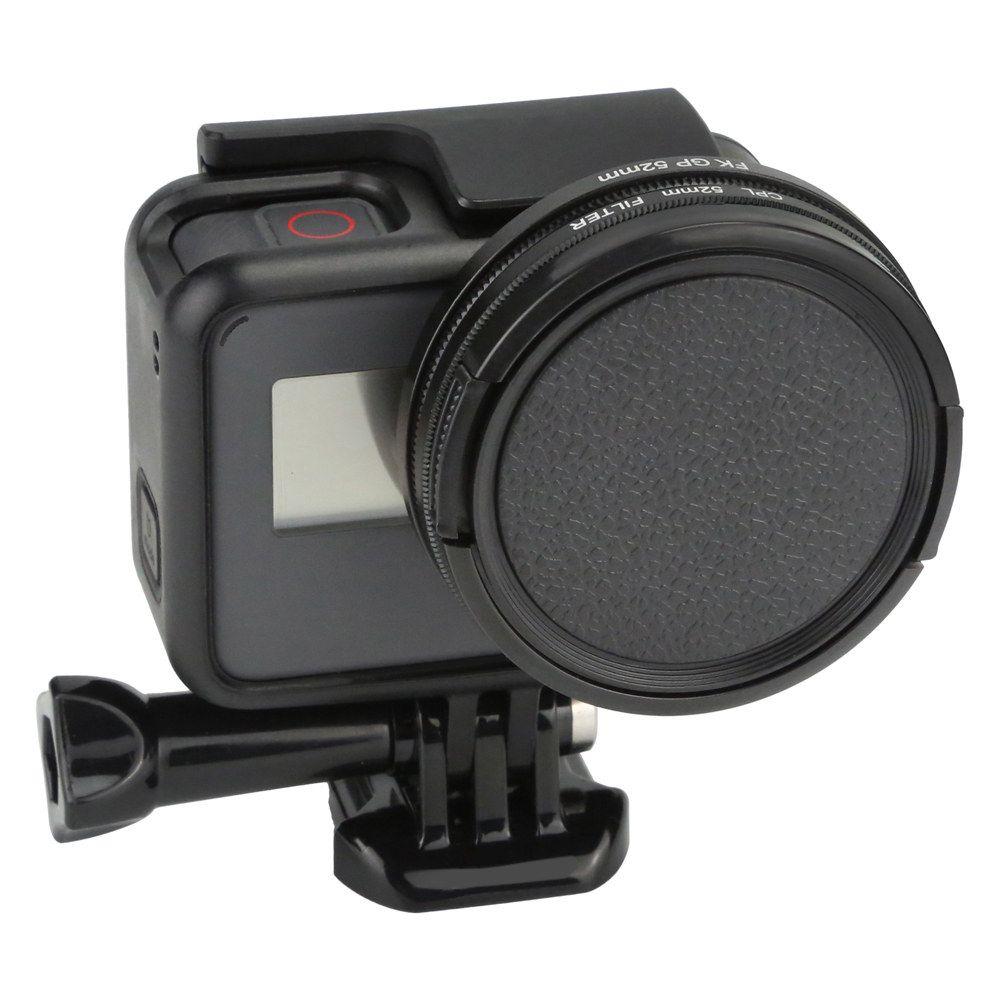 Filtro Polarizado CPL 52mm com tampa da Lente para Caixa GoPro 5/6