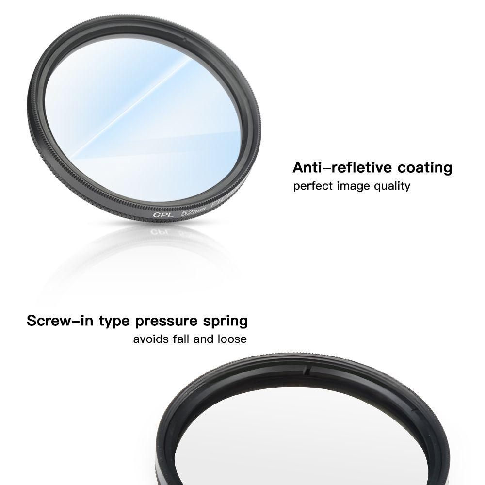 Filtro Polarizado CPL 52mm com tampa da Lente para GoPro 5,6,7 Black