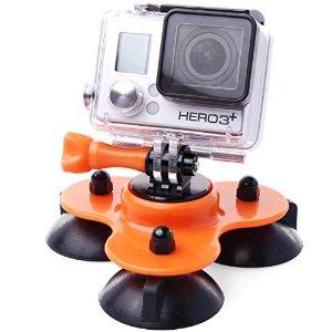 Ventosa Carro Sucção monopé Tripode Laranja para Câmeras de Ação GoPro Hero SJCam Xiaomi