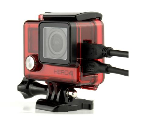 Caixa Estanque Aberta Vazada para GoPro Hero 3, 3+, 4 Vermelha