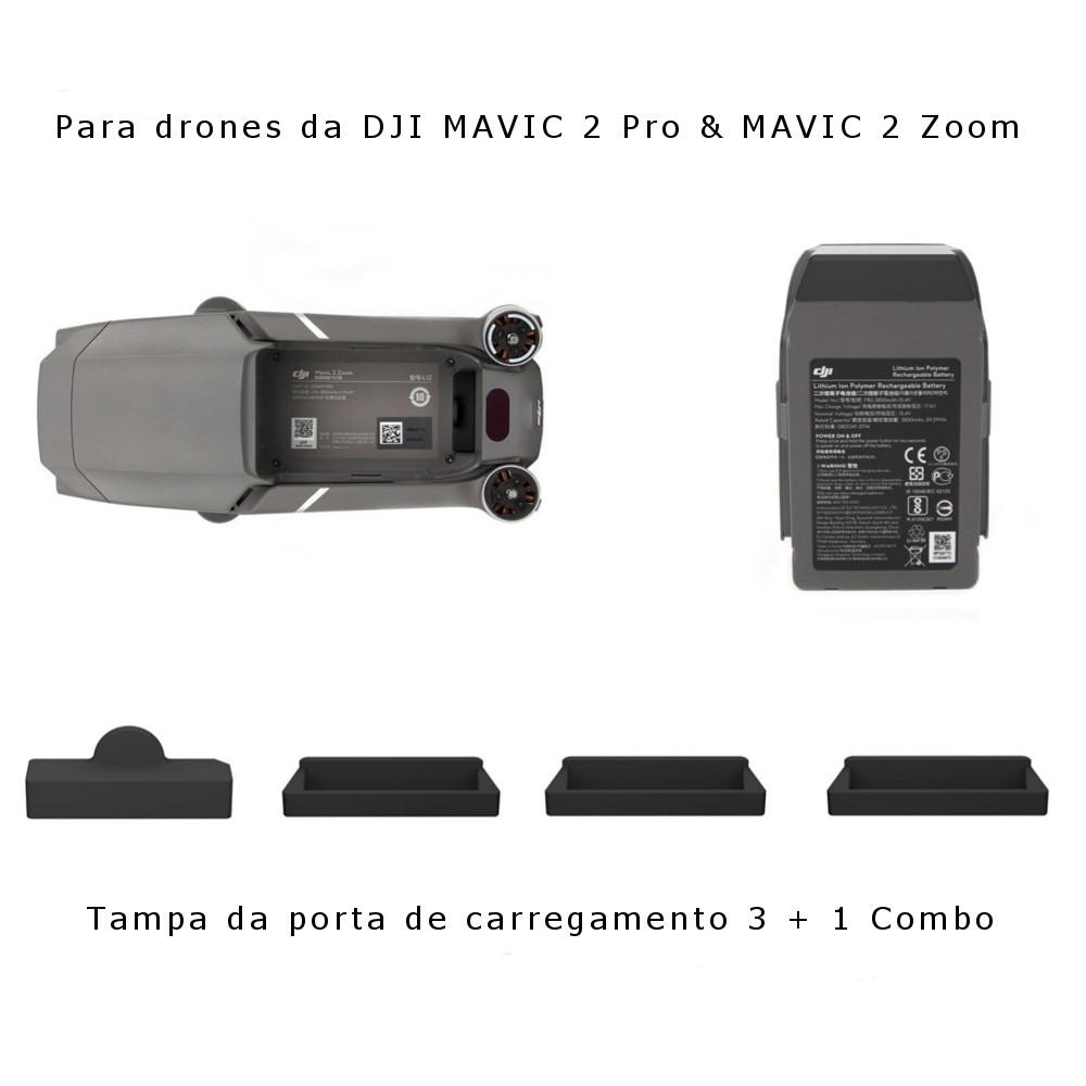 Kit 4 Peças: 3 Protetores da Bateria + 1 Protetor Entrada De Carregamento - Mavic 2 Pro E Zoom
