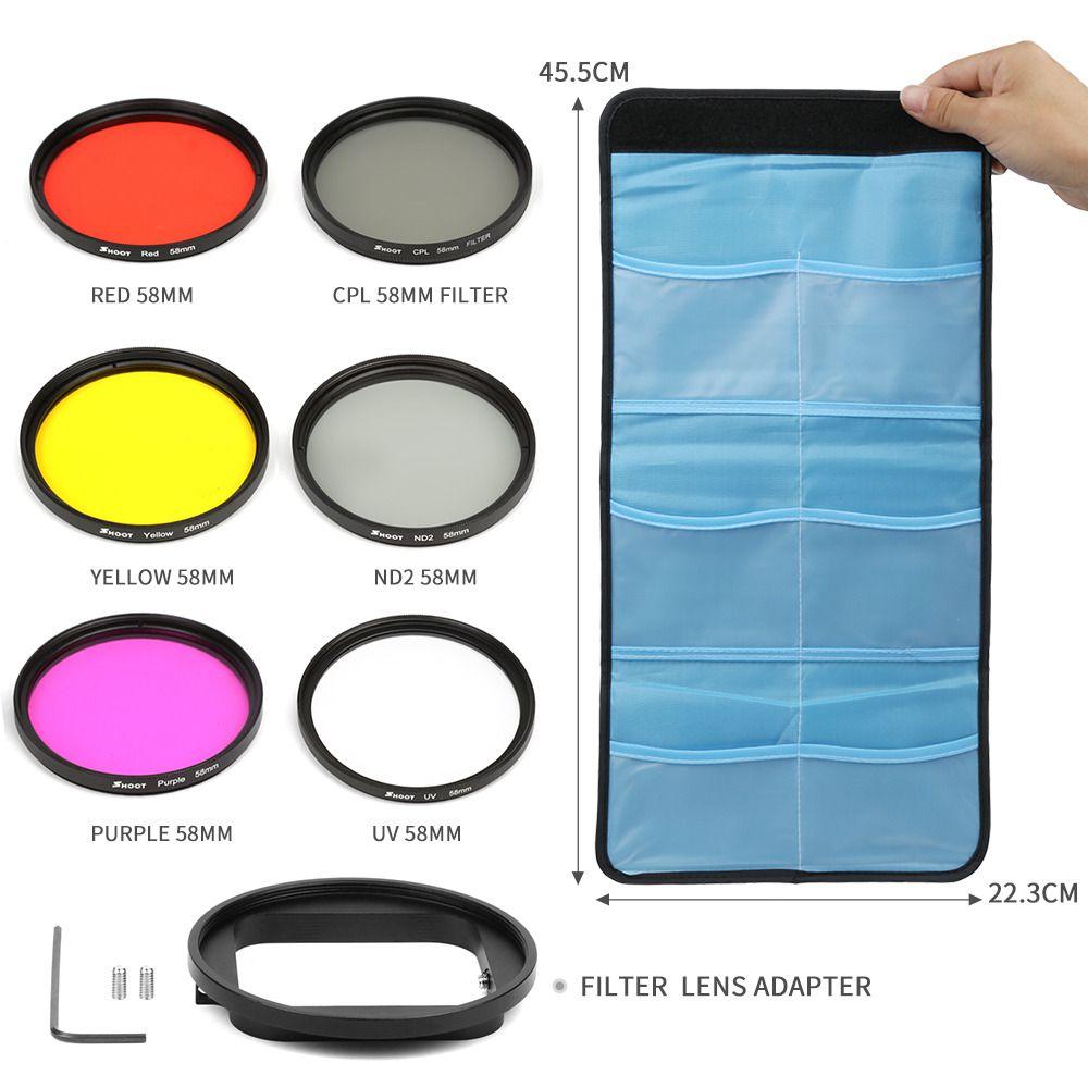 Kit Filtro 6 em 1 58mm Filtros UV+CPL+ND para GoPro Hero 7 6 5