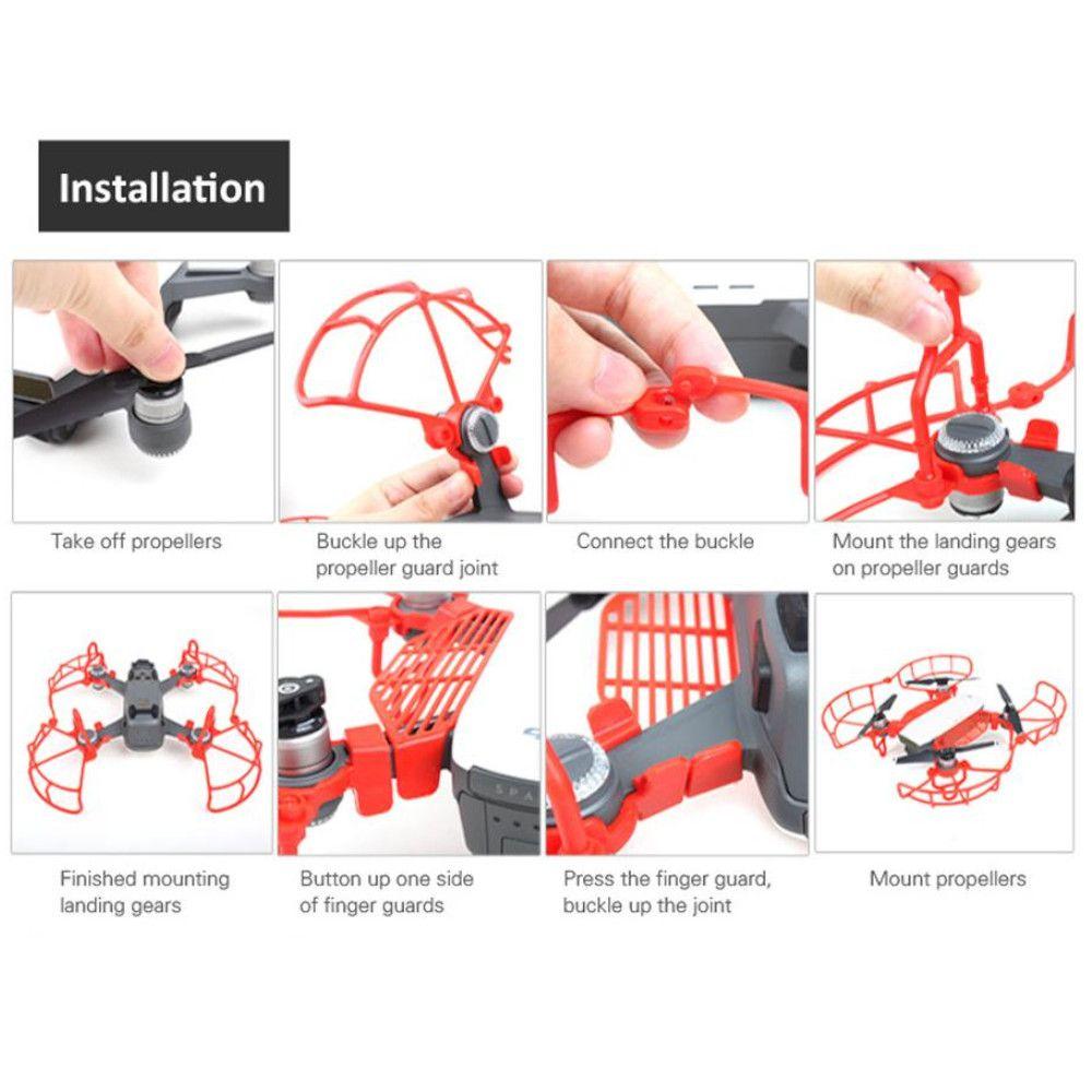 kit Proteção Vermelho para Drone DJI Spark: hélice + dedo + extensor trem de pouso