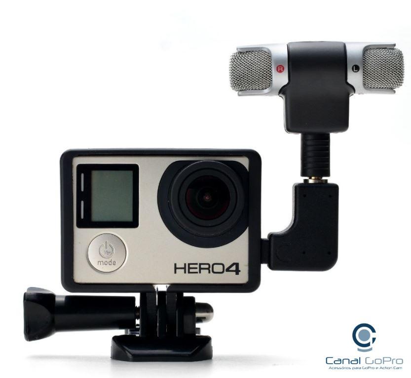 Microfone Stereo Externo + Frame + Adaptador para Câmeras GoPro Hero 3, 3+, 4