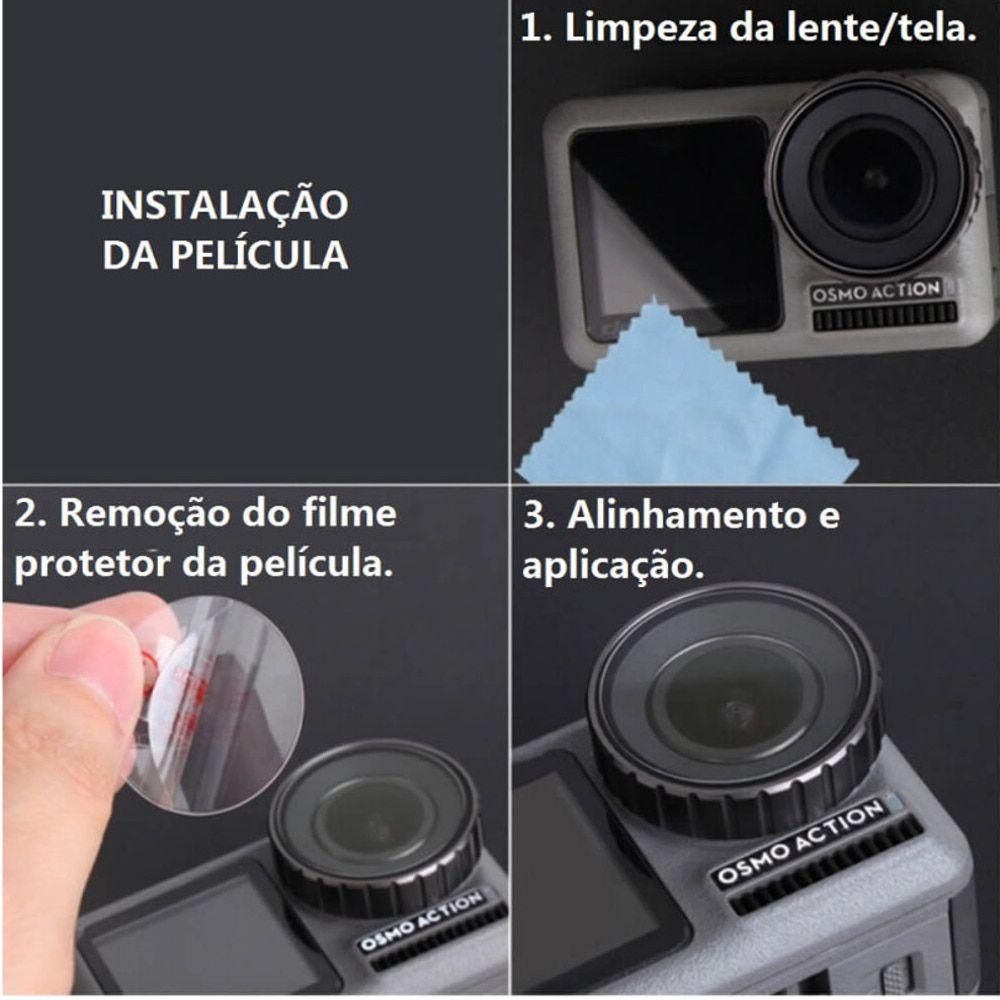 Películas de Vidro para Lente e LCDs Osmo Action (2 kits)