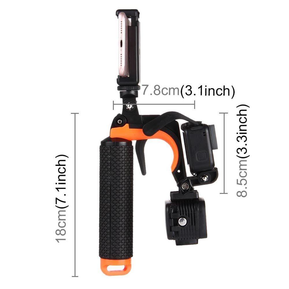 Pistol 3 em 1 Adaptador Gatilho Para GoPro Xiaomi e Celulares - Laranja