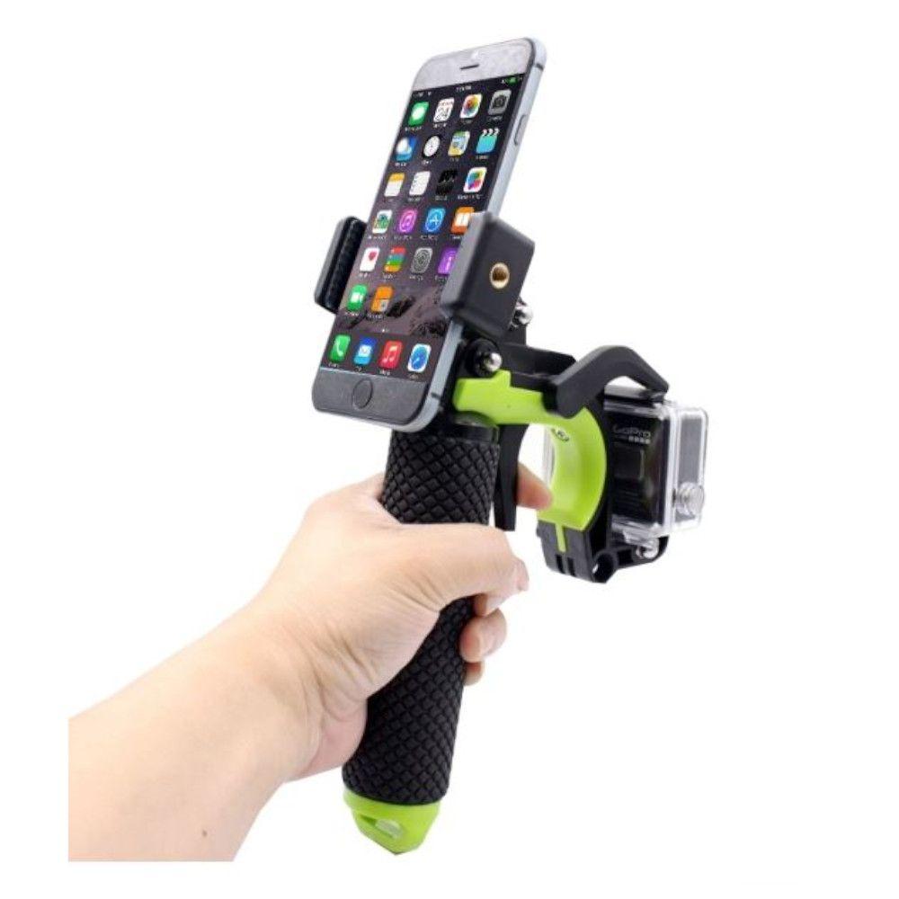 Pistol 3 em 1 Adaptador Gatilho Para GoPro Xiaomi e Celulares - Verde