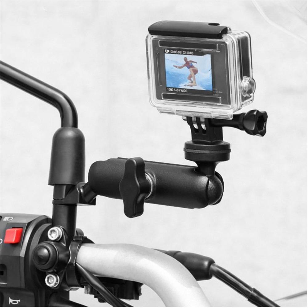 Suporte 360° P/ Retrovisor/Espelho de Moto para GoPro, SJCam, Eken - Preto