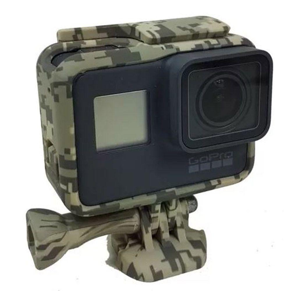Moldura Frame Camuflado Cinza Escuro GoPro Hero 5/6/7