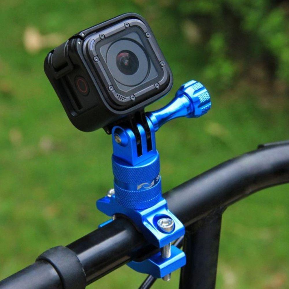 Suporte Bike/Moto/Cilindro em Alumínio 360 graus para GoPro SJCam - Azul