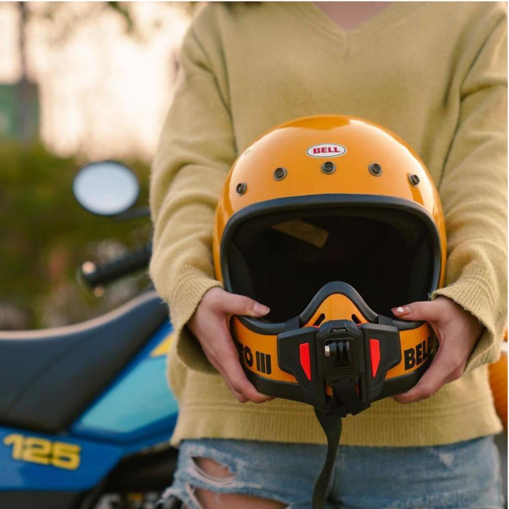 Suporte de Capacete Queixeira Moto Para GoPro, SJCam - Telesin