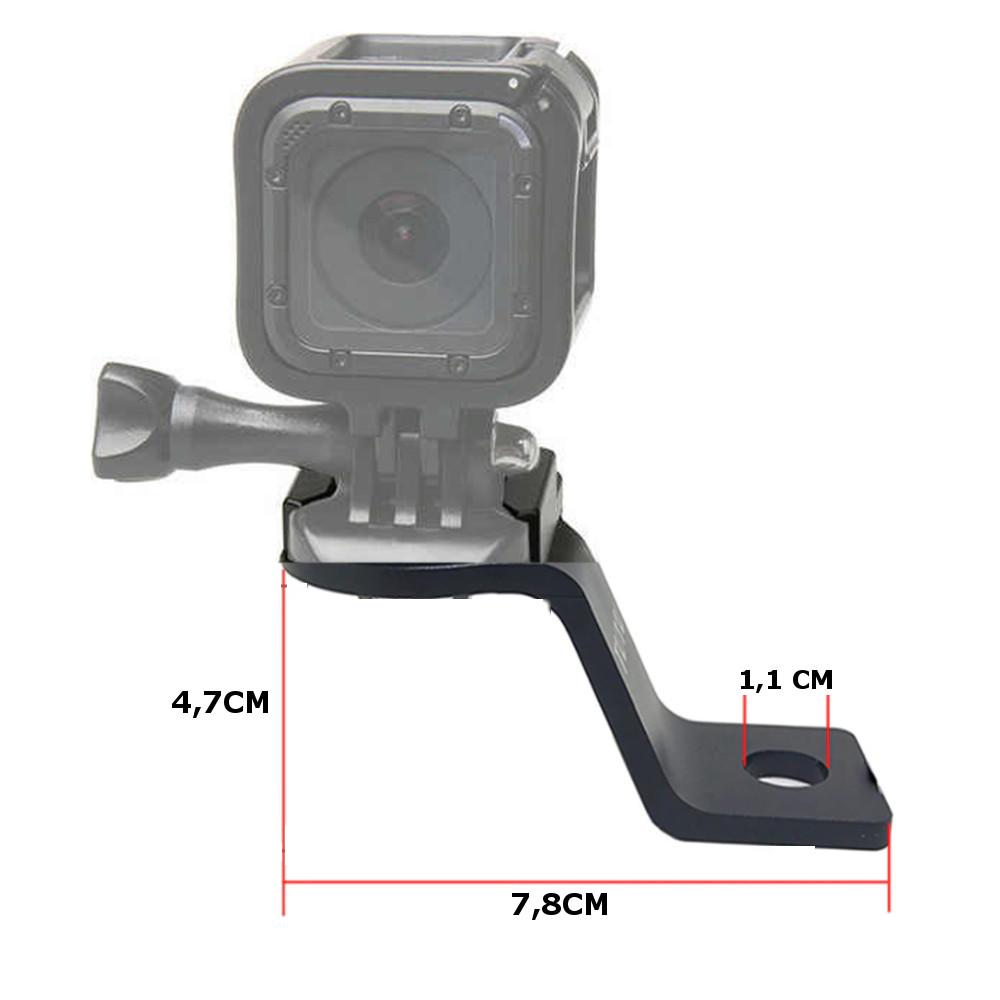 Suporte Alumínio p/ Retrovisor / Espelho de Moto para GoPro, Sjcam , Eken- Preto