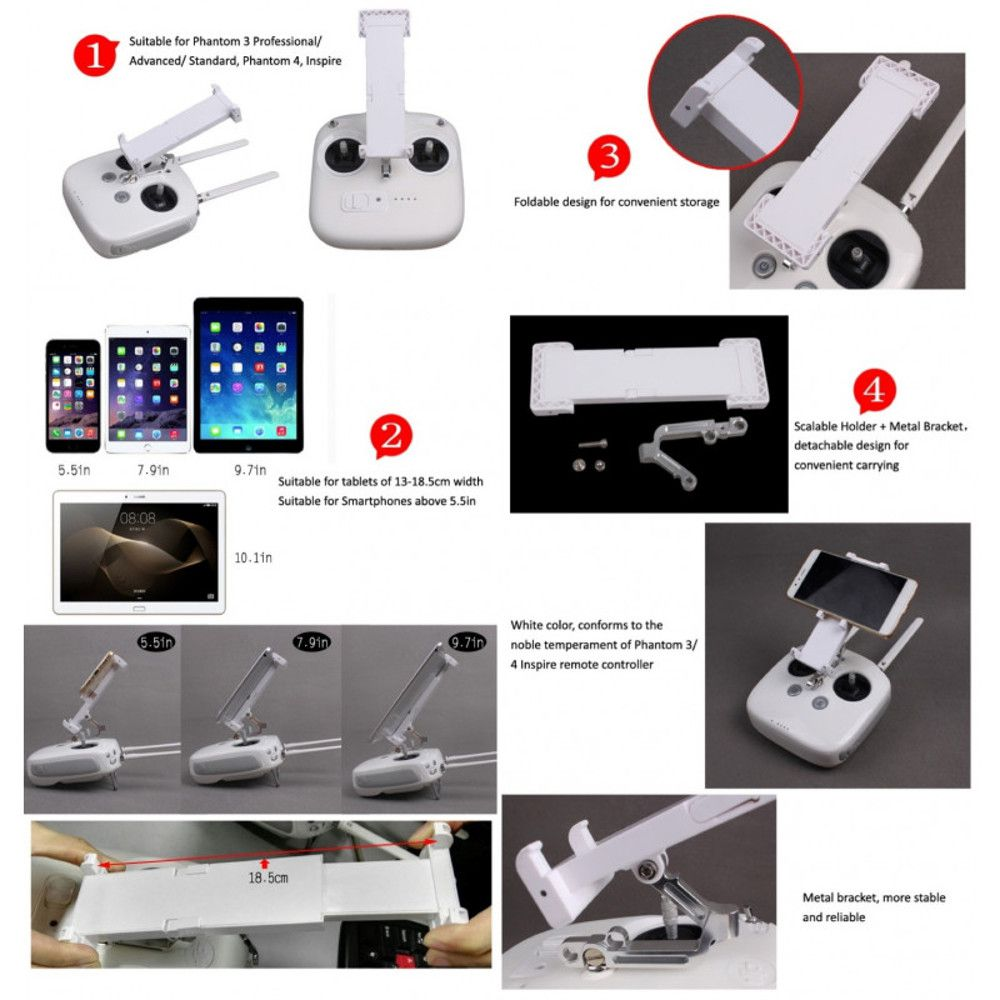 Suporte Tablet/Smartphone Controle Remoto Drones Dji Phantom 4 (4/Pro) Phantom 3 (St/Adv/Pro) Inspire