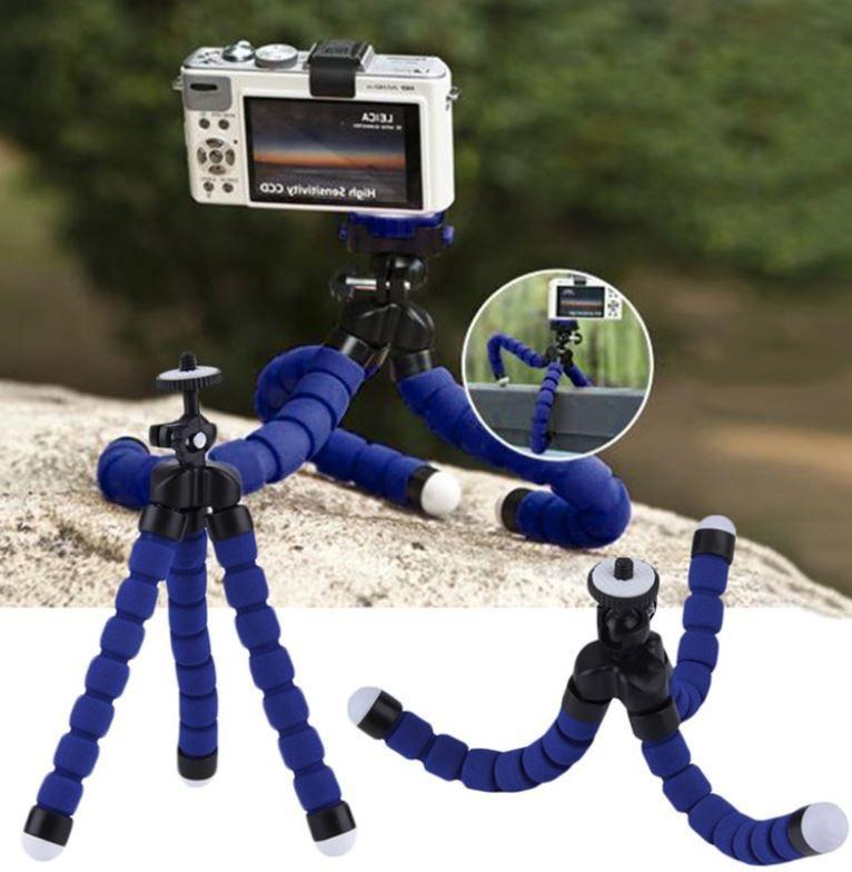 Tripé Articulável Mini Octopus + Suporte Cor Azul para Câmeras GoPro Hero SJCam Xiaomi