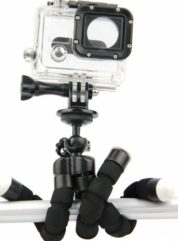 Tripé Articulável Mini Octopus + Suporte Cor Preto para Câmeras GoPro Hero SJCam Xiaomi