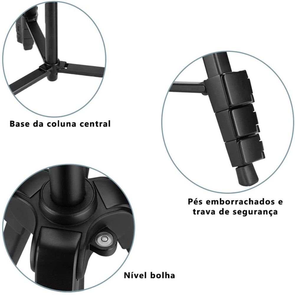 Tripé Greika Nest Nt-530 1,48mts- Máx 3 Kg + Adap. Cel. e GoPro