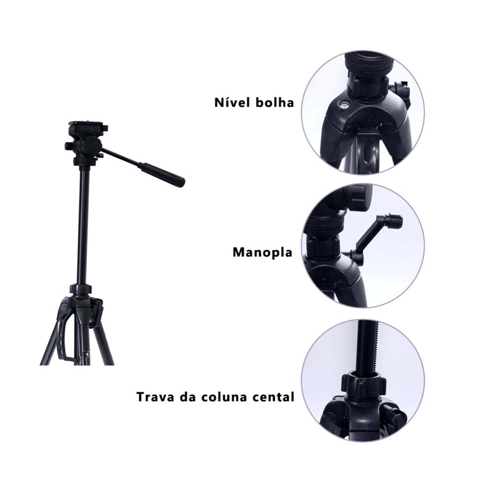 Tripé Greika Nest WF-3716 1,60mts- Máx 3,0Kg + Adap. Cel. e GoPro