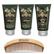 Kit - 2 Shampoos e 1 Balm Para Barba Calico Jack Don Alcides e Pente de Madeira Netbarbas