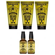 Kit - 3 Balm e  2 Óleo Para Barba - Danger - Barba Forte