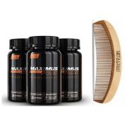 Kit - 3 Maximus Plus Beard - Crescimento Barba e Pente de Madeira - 90 dias - Maximus Mens